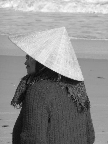 Fisherwoman on the beach