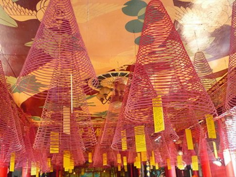 Circular hanging red incense at Chinese temple