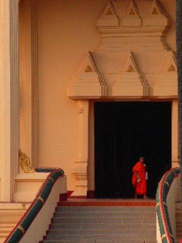 Monk at temple doorway