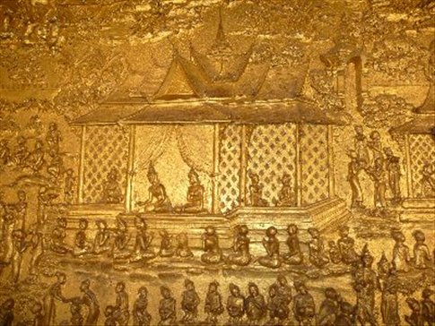 A beautiful small segment of a massive gold painted temple wall mural
