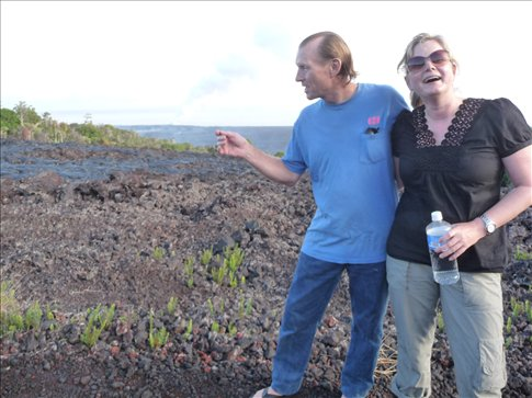 Christina with Jack, the only resident in the volcanic area