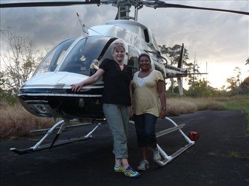 Christina & Priti, Helicopter ride over Hawaii & volcanos