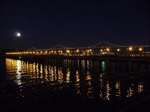 Bay Bridge on a full moon night, SF