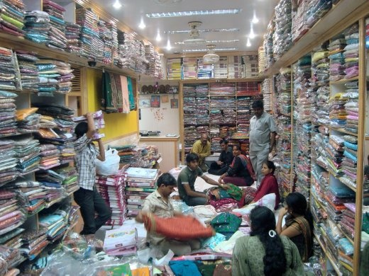 Nothing pleases an Indian woman than sarees, the traditional attire. Saree shops typically have sales men and customers, sitting on floor cushions for hours on end till the connoisseurs make their choice.