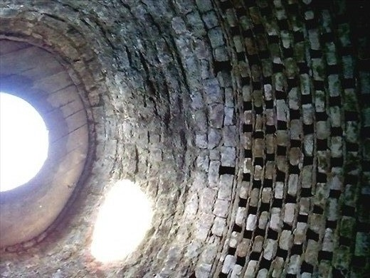 Inside the dovecote. (This is one of those photos that won't rotate!  The circle is the roof)
