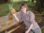 Rachel at the dinner table with one of Marco's home grown organic pineapples!: by rachel_and_daniel, Views[449]