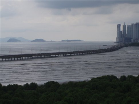 View of the Causeway and islands (built from spoil from the canal)