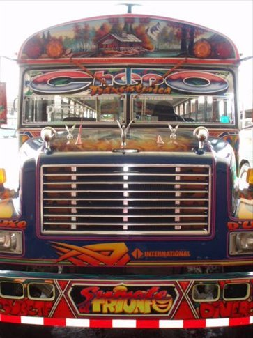 Chicken bus extraordinaire. Typical example of a Panama City local bus.