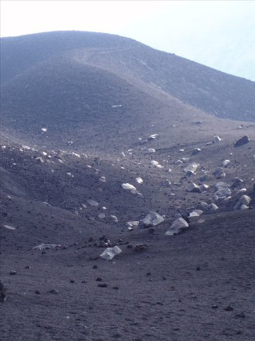 Striking white boulders belched out in the last eruption