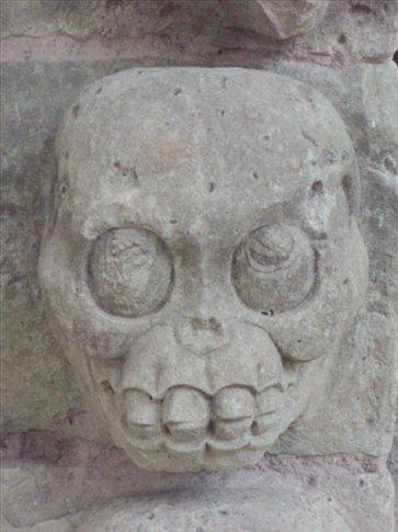 Skull on one of the altars