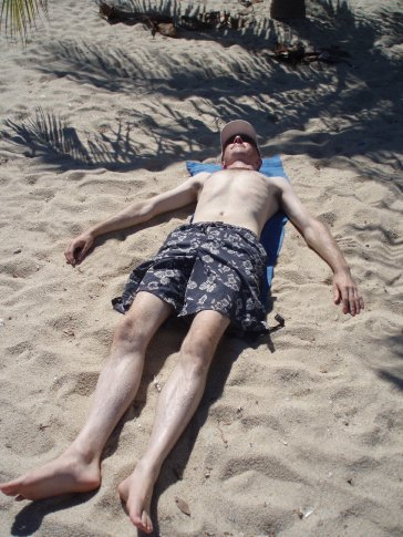 Dan flat out in the sun, travelling is such hard work!