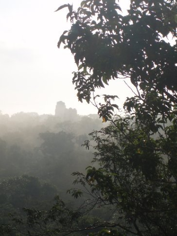 First view of Tikal through the early morning mist