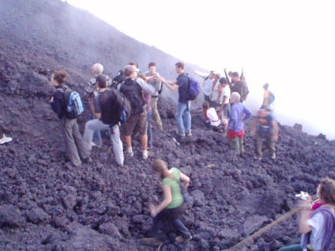The hordes on the lava bed, Volcan Pacaya.