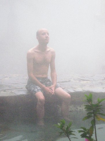 Daniel breathes in the vapours at Georginas Fuentas