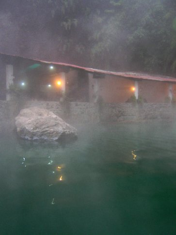 Pools lit as night draws in