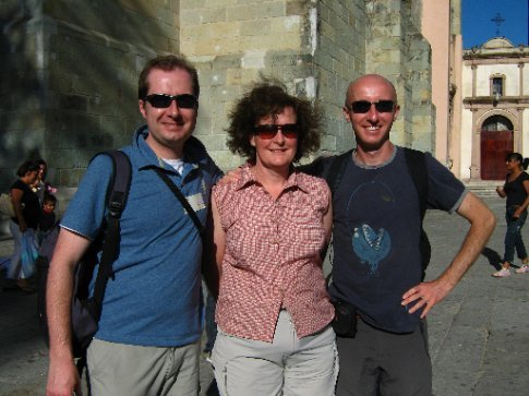Jon, Lucy and Daniel, the Zocalo, Oaxaca
