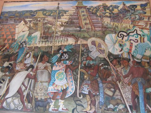 Diego Rivera's paintings of Mexican history in the National Palace
