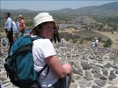 Loobie on the top of world - looking out over to the Temple of the Moon, Teotihuacan: by rachel_and_daniel, Views[291]