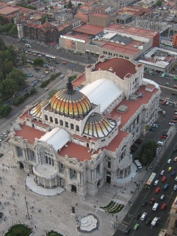 Mexico City - the opera house from the top of the Latin America building