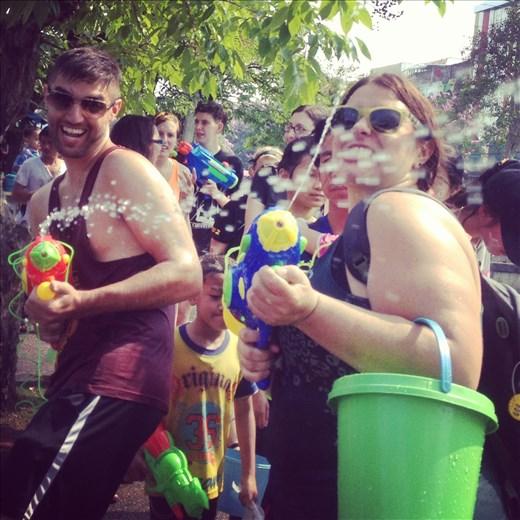 Songkran water fight!
