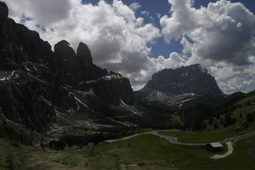 A typical view in the Dolomites during an unusually dry couple of hours