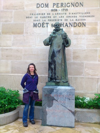 Rachel outside the Moet and Chandon champagne cellars