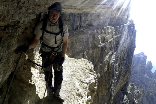 A typical path on my via ferrata (the drop to my left is six hundred metres)