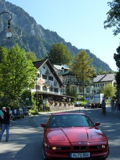 Town of Schwangau - annoying perfect-red-for-a-car, BMW stopped in my photo!