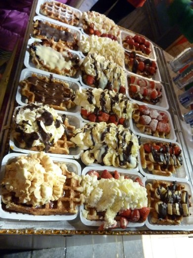 Belgian waffels - the chocolate sauce is deadly.