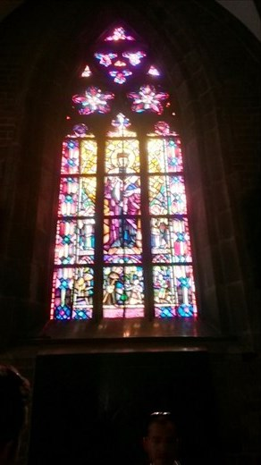 Stained glass in one of the many churches