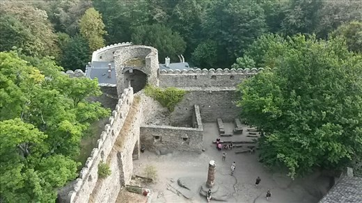 View from the watchtower down into the castle courtyard