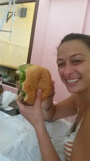 Giant, delicious burger at Moaburger