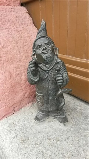 One of over 100 gnomes that can be found all over the city, an old representation of protest against communism