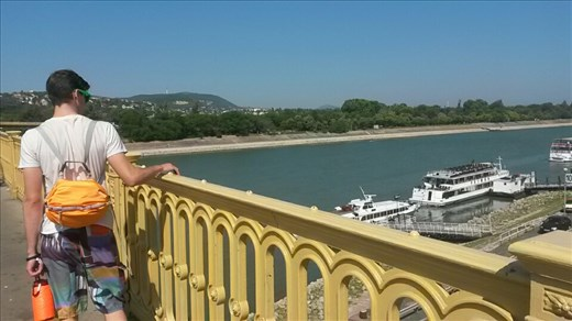Michael overlooking a bridge.  We were on our way to go swimming at an island