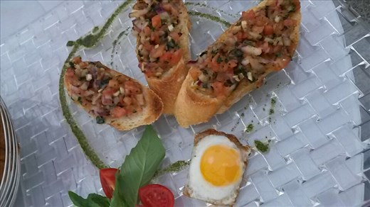 Bruschetta with a quail egg. Very tasty indeed