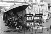 It takes someone with an immense amount of character to be able to draw a caricature. From his posture, to his small footrest, to his fascination for umbrellas, this man is truly an artist: by rafi_chenzian, Views[74]