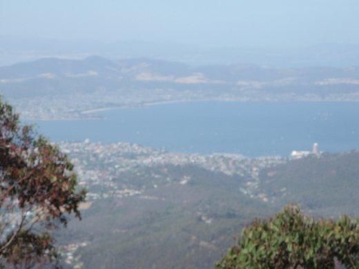Looking down half-way at Hobart.