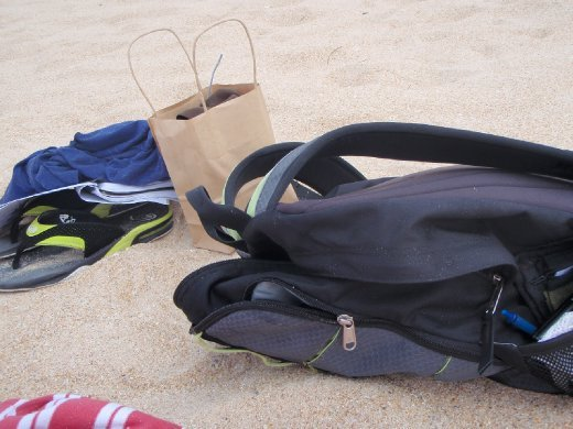 My stuff on the beach...