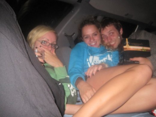 In the back of the car (where we slept...)