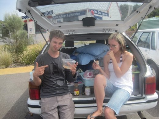 Picnic in the trunk. We were very thrifty :P
