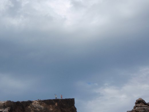 You can't really tell, but I'm doing a handstand on the cliff...