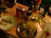 Our Dinner party meal! Check out the chopsticks some of us had to use (there were not enough forks).: by ramsaym, Views[221]