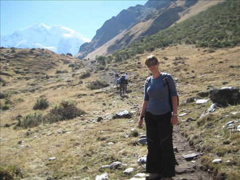 Me right at the start of the trek (before the zip on my pants broke and I had to wear jeans!!). Salkantay Mountain in the background.