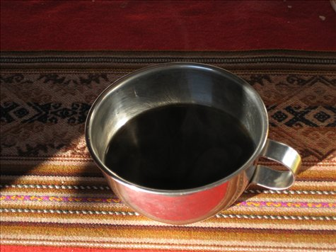 Fresh black coffee made from local beans - the first good cup of coffee I´d had since I arrived in south america - god it was good!!