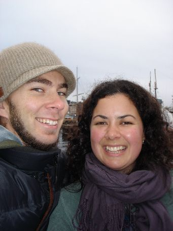 Me and Diccon on the Oslo waterfront.... chilly!