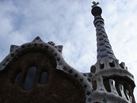 Gaudi's gatehouse building at Parc Guell, Barcelona