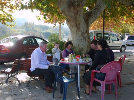 Family lunch by the river at Miravet: from left Graham (Tim's dad), Georgie, Marion (host), Jenny (Tim's mum), Francoise (who you can't see, family friend) and me