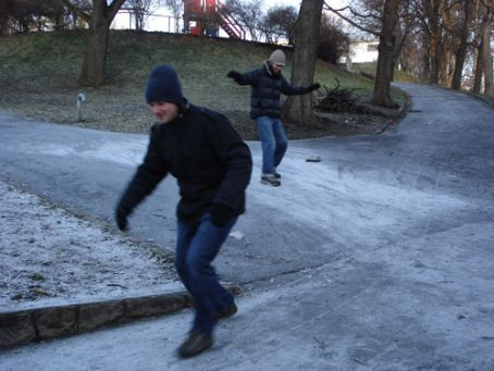 Boys being boys, St Hanshaugen Park (behind our flat), Christmas Day