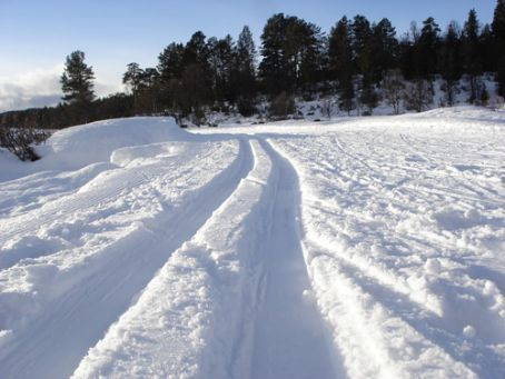 Formed tracks for cross country skiing - make you feel as though you have a little control!!