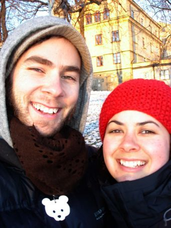 Us in chilly Stockholm on Diccon's birthday (Feb)